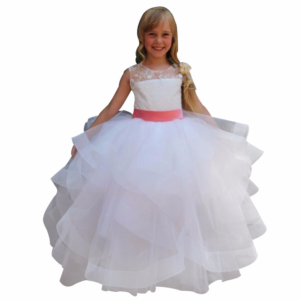 Zyllgf Bridal Cute Long Ball Gown Flower Girl Dresses White Girls