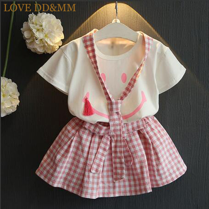 LOVE DD&MM Girls Sets 2019 Summer New Kids Cute Girl Cute Smiley Tassel Short Sleeve T-Shirt + Plaid Skirt Set(China)