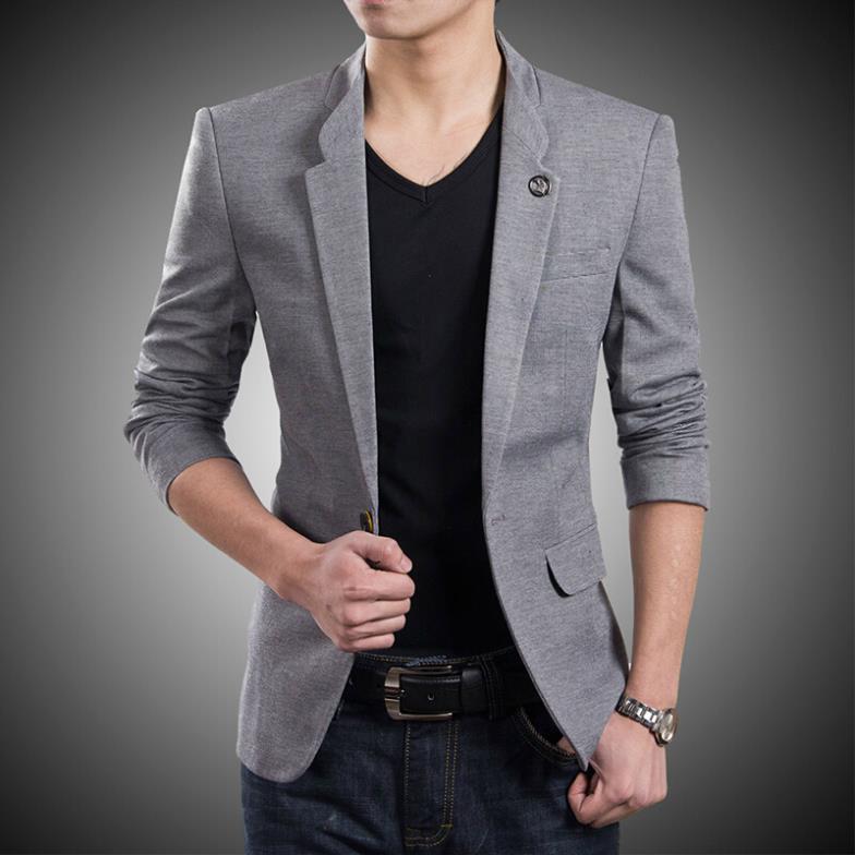 2015 New Korean Fashion Mens Blazer Jackets Casual Slim Fit One ...