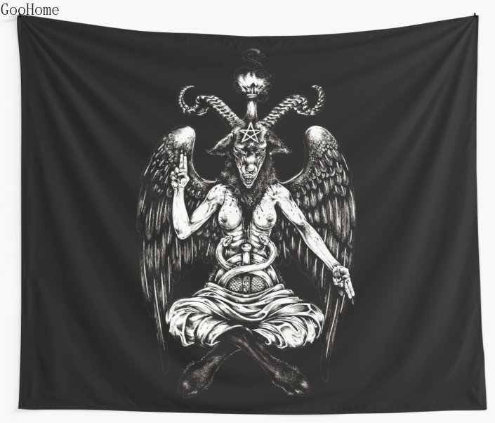 Baphomet Women Wall Tapestry Cover Beach Towel Throw Blanket Picnic Yoga Mat Home Decoration
