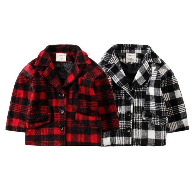 2017 Новый LittleSpring Мальчик Плед Шерстяное Пальто Зиму Корейский однобортный Пальто Мальчики Теплый Карман Верхней Одежды куртка