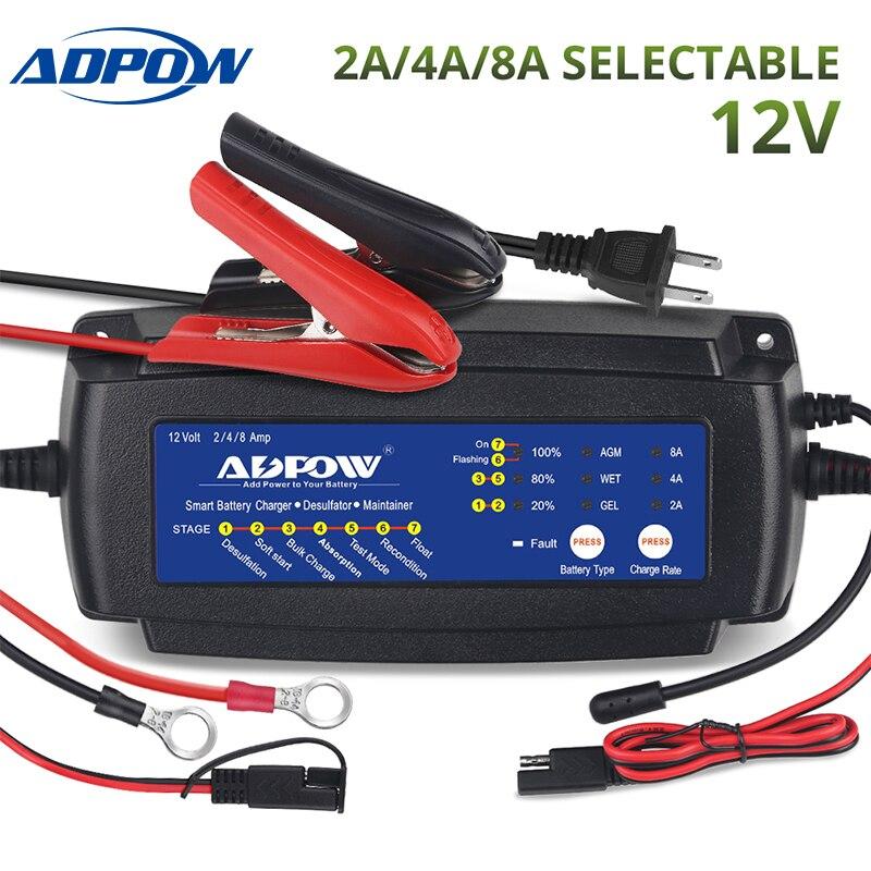 ADPOW 2A 4A 8A 12 V voiture moto chargeur de batterie pour Agm Gel Wet 7 étapes 6-160Ah camion bateau Auto Batteries charge mainteneur
