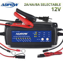 ADPOW 2A 4A 8A 12V Car Motorcycle Battery Charger For Agm Gel Wet 7 Stages 6-160Ah Truck Boat Auto Batteries Charging Maintainer