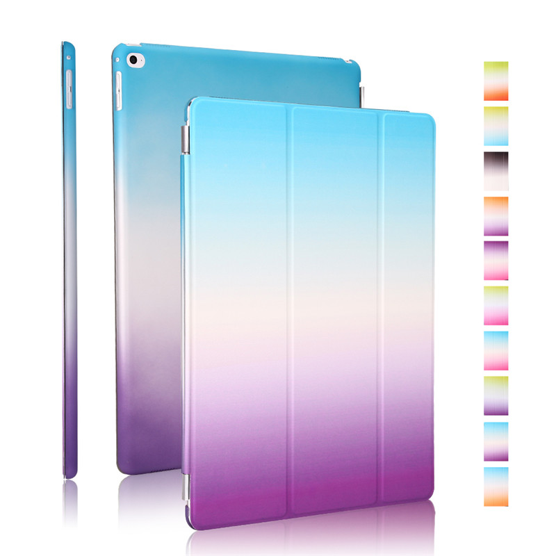 for apple ipad pro 12.9 cover smart auto sleep rainbow blue to purple gradient pu leather magnetic with plastic back shell