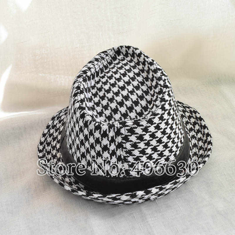 b303122ff8a ... Winter Black And White Houndstooth Pattern Fedora Hats For Men Chapeu  Masculino Panama Jazz cap MEDB001 ...
