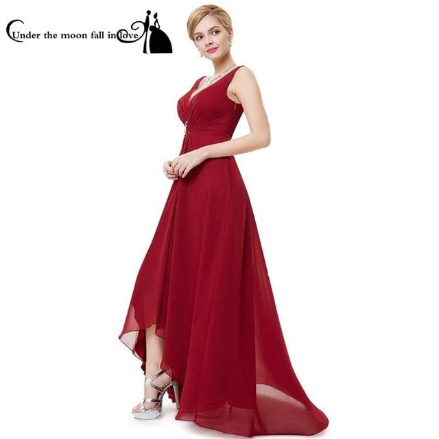Elegant V Neck Spaghetti Straps Short Front Long Back Party Dresses ...