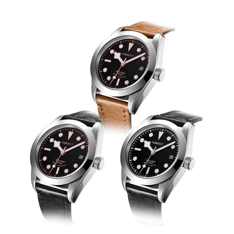 Corgeut 41mm Mens Automatic Watch Black Luminous Dial Sapphire Glass Wristwatch Leather Strap Miyota 8215 Movement Watches 2016A 41mm corgeut black dial sapphire glass miyota automatic movement mens watch c04