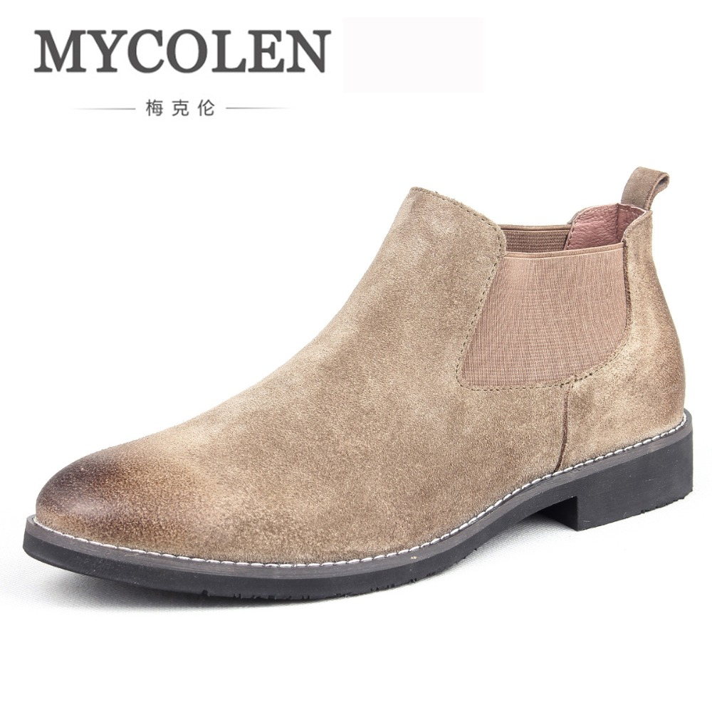 MYCOLEN The Chelsea Boot Men Suede Boots Fashion Brand Low Heel Leather Ankle Boots Vintage Sewing Thread Male Boots mycolen men boots genuine suede comfort leather sewing minimalist design black thread men ankle boots leather male shoes adult