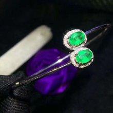 shilovem 925 sterling silver real green Emerald Bangles fine Jewelry women trendy wedding new wholesale  jcsz040602agml