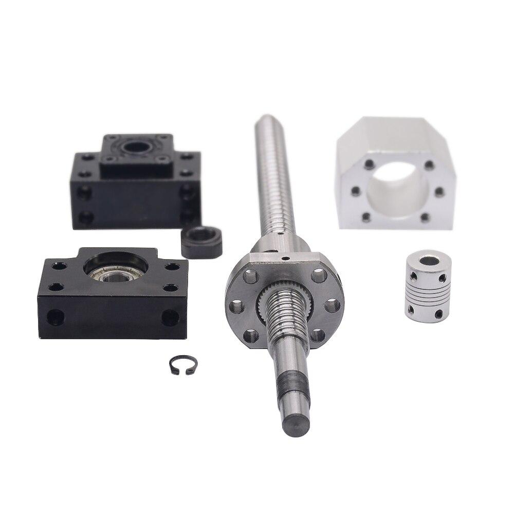 SFU1605 set: SFU1605 tornillo de bola laminado C7 con end mecanizada + 1605 tuerca de la bola + tuerca + BK/BF12 final soporte + acoplador RM1605 - 5