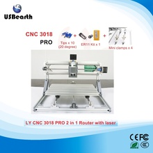 mini CNC 3018 PRO CNC LASER engraving machine 2 in 1 with laser head 500mw/2500mw/5500mw