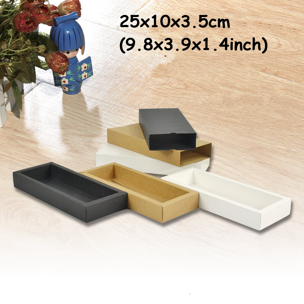 10pcs Lot 25x10x35cm Black Slide Open Gift Box Kraft Paper Sonne Andrea Sf8002 Shell Premium Lady Comfort Casual Leather Sandal Packaging Carton Cookie Food Packing Clothing Emballage