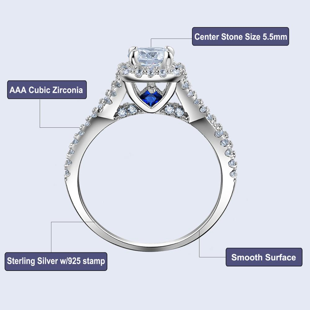 3 Pcs Solid 925 Sterling Silver 1.3 Ct AAA CZ Blue Crystal Unique Wedding Bands