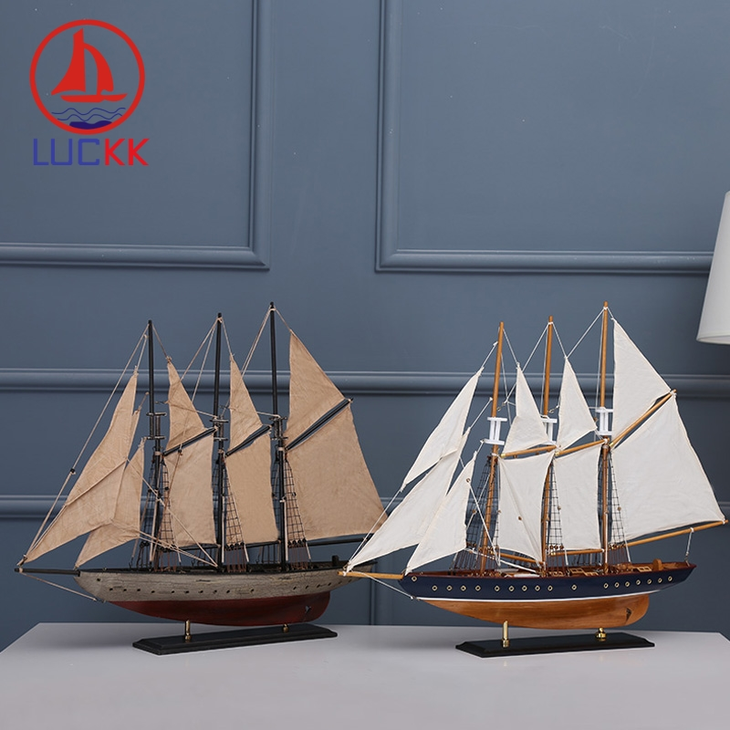 LUCKK 72 CM American Model Ships Home Interior 2 Color Vintage Wood Decoration Accessories Crafts Sea Style Free Shipping