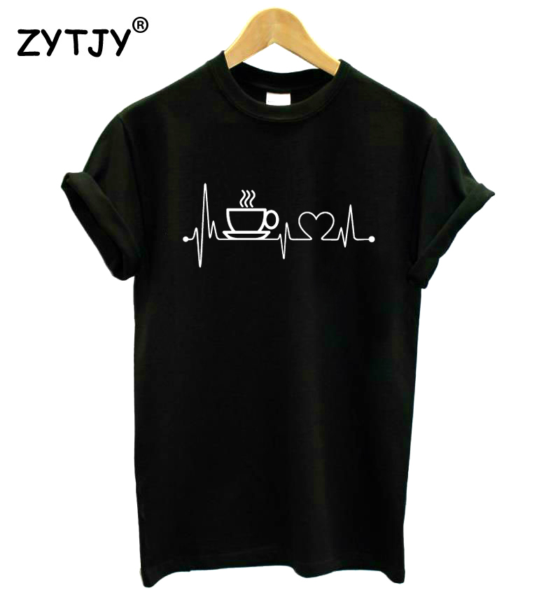 Coffee Heartbeat Lifeline Print Women Tshirt Cotton Casual Funny T Shirt For Lady Girl Top Tee Hipster Drop Ship S-22