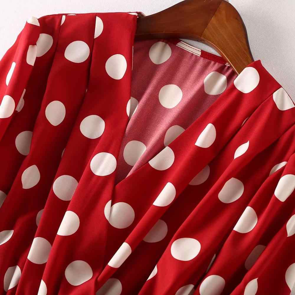 2019 Весна Осень Женские Платья офисные клетчатые в горошек винтажные платья женские с v-образным вырезом повседневные красные черное эротичное платье женские C683
