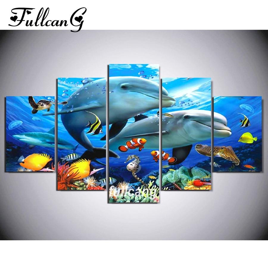 FULLCANG Dolphins Diy 5pcs Diamond Painting Cross Stitch Embroidery 5D Square Mosaic F1060