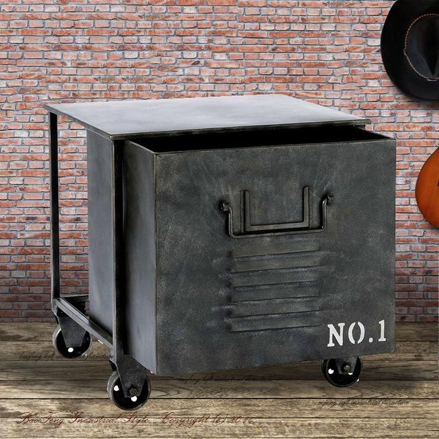 C Iron Vintage Tin Wind Loft Metal Lockers Living Room Sofa Side A Few Storage