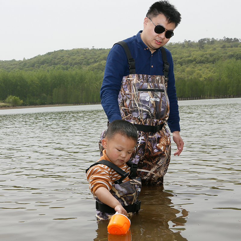 Kids Adjustable Chest Waders, Waterproof Fishing Waders with Wading Boots for Children
