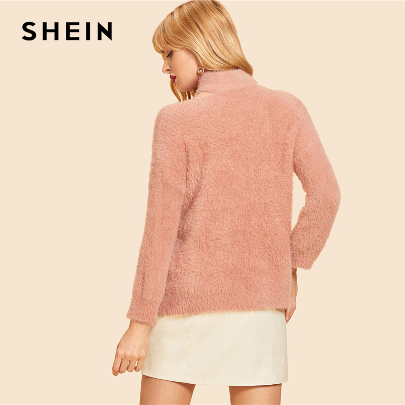 c5f4b0f666a7 SHEIN Pink Cut Out High Neck Solid Fluffy Sweater Casual Cold Shoulder High  Neck Long Sleeve Pullovers Women Autumn Sweaters-in Pullovers from Women's  ...