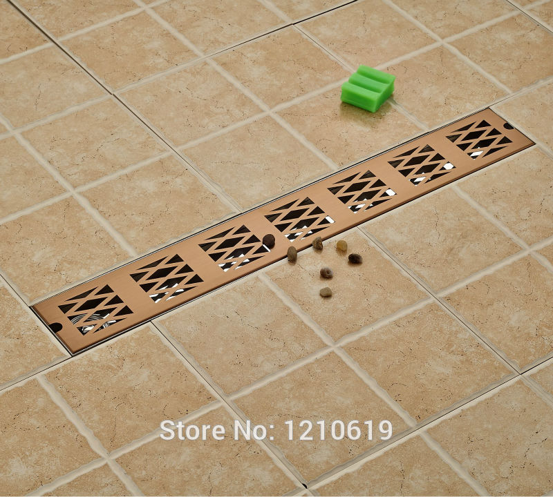 Newly Rectangle 70*10cm Floor Drain Stainless Steel Rose Gold Plate Bathroom Shower Strainer Ground Drain цена и фото
