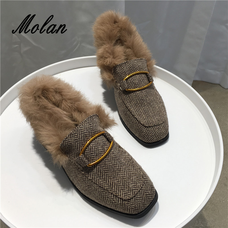 MOLAN Brand Square Toe Cloth Fur Flats Shoes Woman Fashion Plaid Metal Circle Buckle Bow Slip On Loafers Casual Large Size 35-40