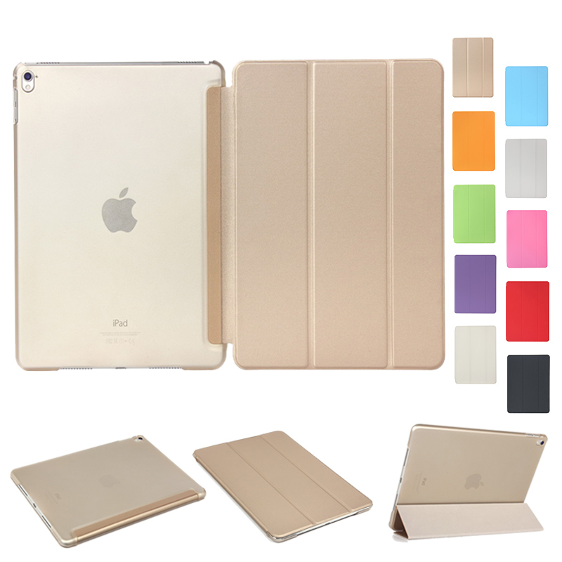 For iPad Pro 9.7 for iPad Air 2 Luxury Full Body Slim Stand Smart Sleep Wake UP PU Leather Clear Back Cover Case for iPad 6/7 new luxury ultra slim silk tpu smart case for ipad pro 9 7 soft silicone case pu leather cover stand for ipad air 3 ipad 7 a71