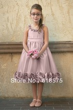 45763 A Line Spaghetti Straps Scoop Handmade Flowers Tea Length Cute Bridesmaid Dresses