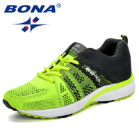 BONA New Running Shoes Women Jogging Sneakers Fly Knitting Breathable Mesh Lace Up Outdoor Training Fitness Sport Shoes Female