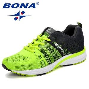 Image 1 - Bona novo tênis de corrida das mulheres tênis de corrida respirável malha rendas up treinamento ao ar livre sapatos de fitness esporte feminino