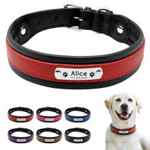 Large Dog Collar Ekte Leather Dog Collar Personlig Pet Name ID Collar Polstret Tilpasset For Medium Large Dogs