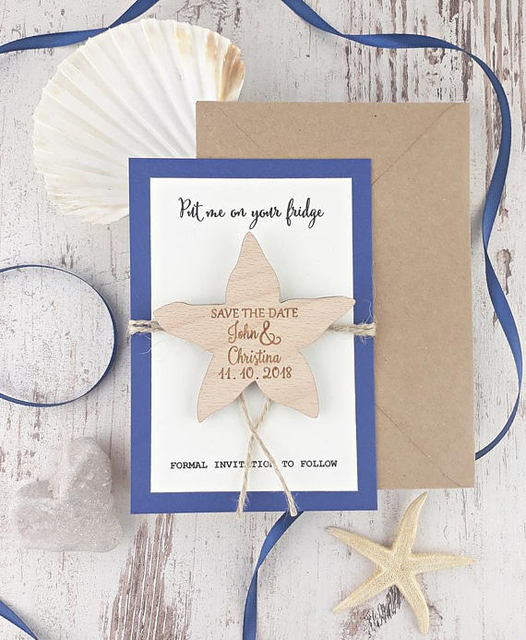 Personalized Starfish Beach Wedding Announcement Invitation Cards With Wood Save The Date Magnets Engagement Party Favors Gifts