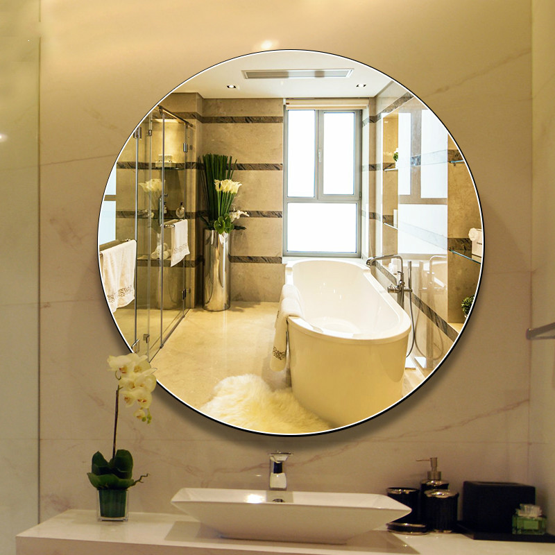 How To Hang A Bathroom Mirror On The Wall: Bathroom Mirror Wall Hanging Round Bath Large Makeup