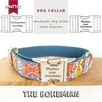 MUTTCO vente au détail à la main à l'épreuve du temps gravé nom d'animal de compagnie collier de chien le style ethnique bohème créatif collier de chien 5 tailles UDC050
