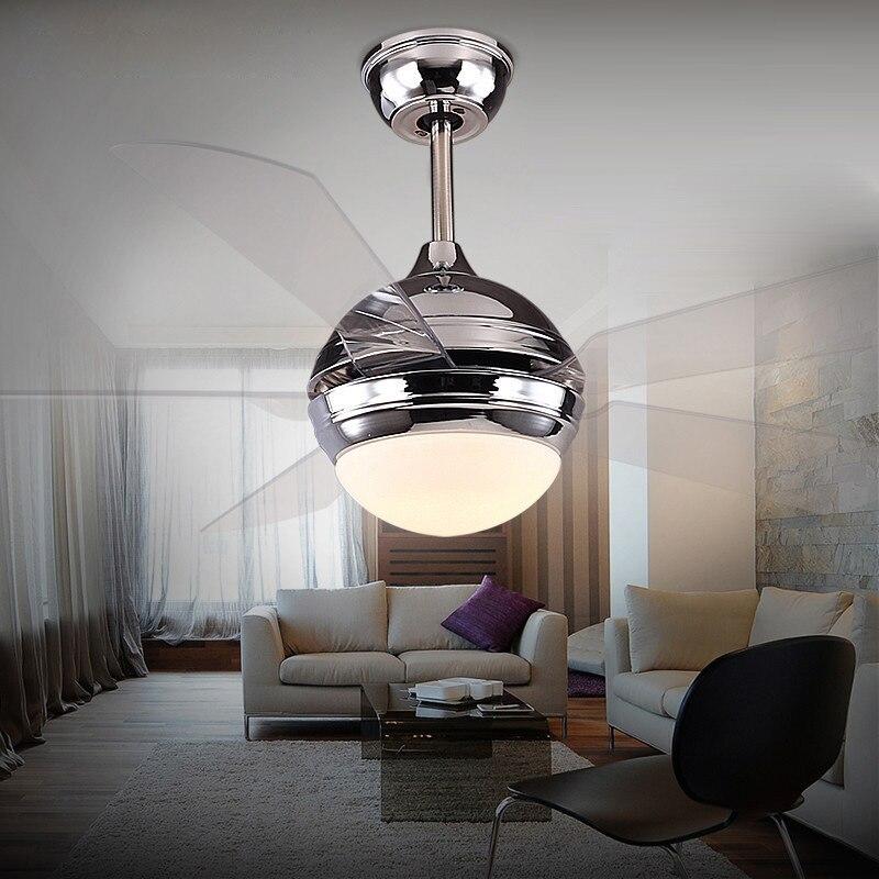 LukLoy Modern minimalist DC Frequency Conversion Ceiling Fan Light LED Remote Control Fashion Transparent Leaf Restaurant Lamp