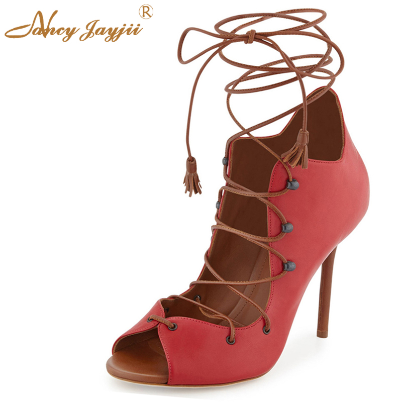 Nancyjayjii Woman Red Peep Toe Lace Up Crossed Pleather High Heels Pumps Shoes Women, zapatos mujer tacon big size 5-14