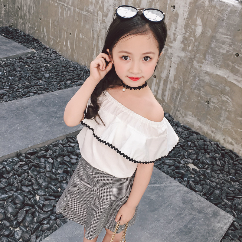 dress in the summer of 2018 han edition new off-the-shoulder a word shoulder bust skirt falbala coat two-piece G2065