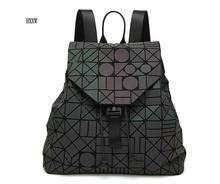 Световой рюкзак Diamond решетки сумка геометрический сумка женская мода девочка-подросток, школьные Серебристые рюкзак H323