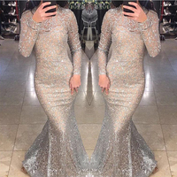 Silver Gold Glittered Sexy Maxi Dress Hollow Out Full Sleeved Floor Length Evening Party Dresses Gown Sequined Dress