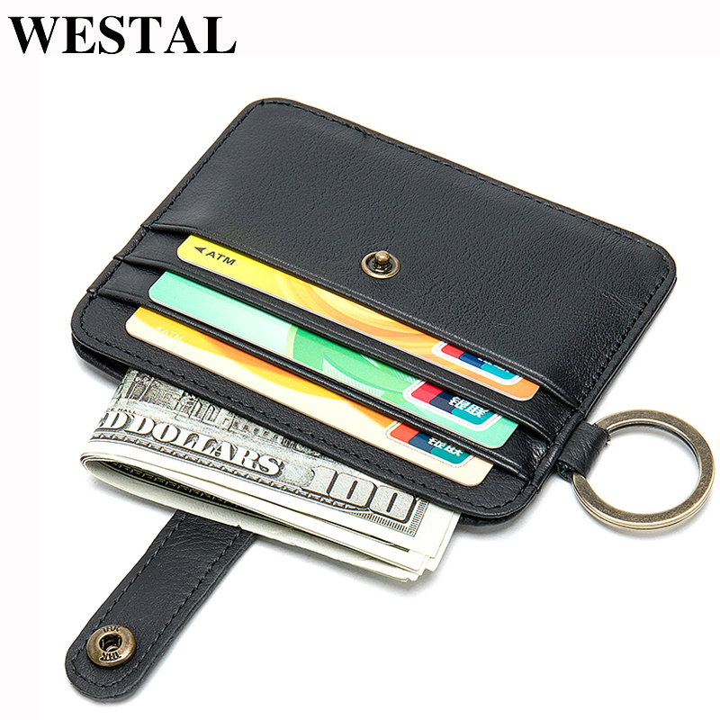 WESTAL Men's Genuine Leather Wallet Small Purse For Men Slim Wallet Coin Purse Short Male Credit Card Holder Thin Men's Bag 9024