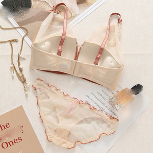 Image 5 - Sexy Lace Women Underwear Set Push Up Bra Sets lash love seamless Brassiere wire free Deep V Small Chest Lingerie and Pant Sets