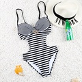 2016 Hot! Sexy One Piece Push Up Striped Fold Swimwear Swimsuit Monokini Under-wired Bathing Suit with Shining Diamonds FD 81606