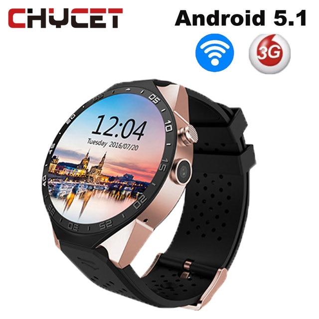 "Chycet KW88 Смарт-часы Android OS 5.1 1.39 ""IPS OLED Экран 512 МБ + 4 ГБ Поддержка SIM GPS wi-Fi 3 г SmartWatch для Android IOS часы"