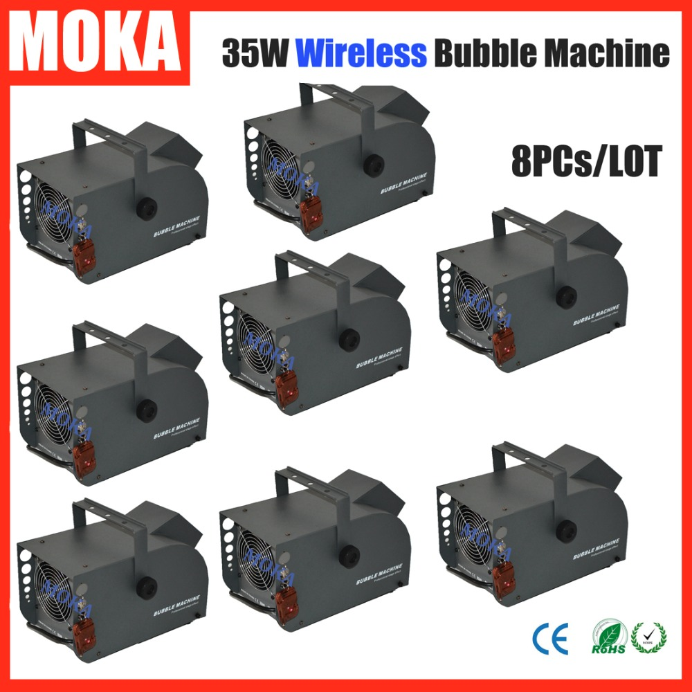 цена на 8 Pcs/lot 35W Bubble Machine remote control wireless bubble machine bubble Blower Maker for Stage/Party/Wedding/Concert