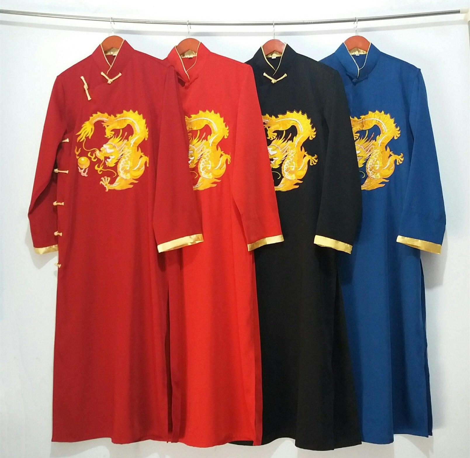 2020 Chinese Men's Embroidery Robe Kimono Gown Nightgown Satin Sleepwear Bathrobe Hombre Pijama