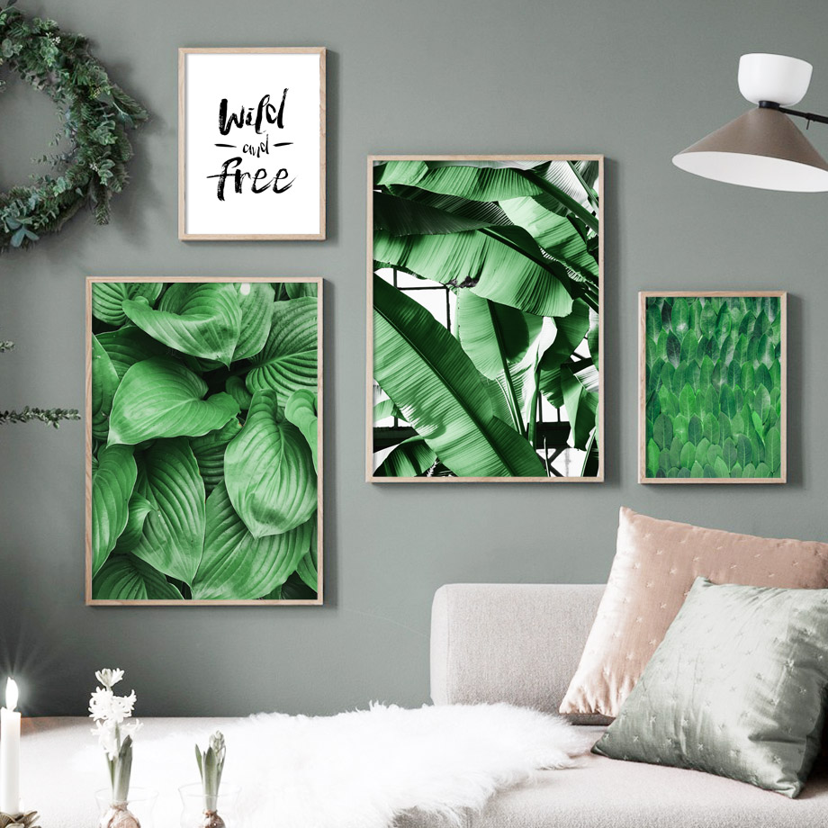 Green Hosta Plantaginea Banana Leaf Wall Art Canvas Painting Nordic Posters And Prints Wall Pictures For Living Room Home Decor