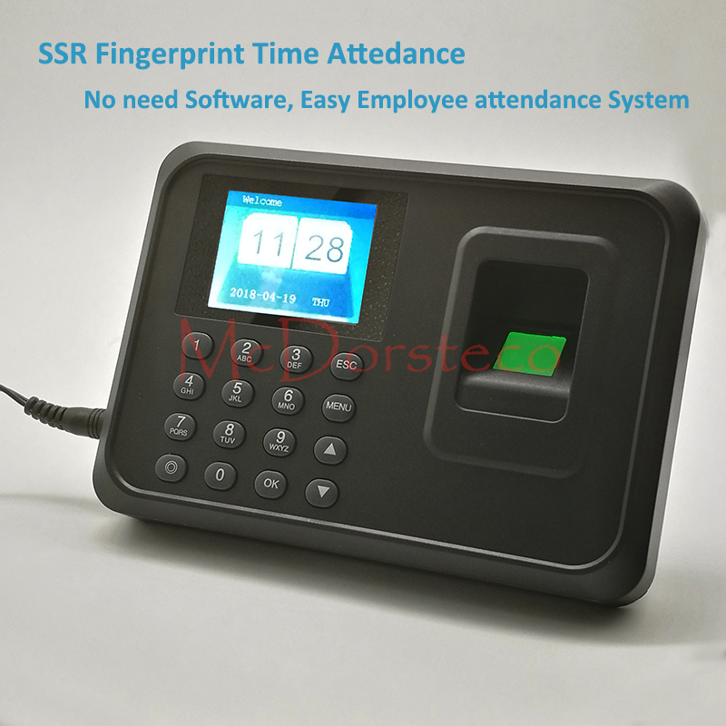 SSR Biometric Fingerprint Time Clock Recorder Attendance Employee Electronic Finger Reader Machine without software купить