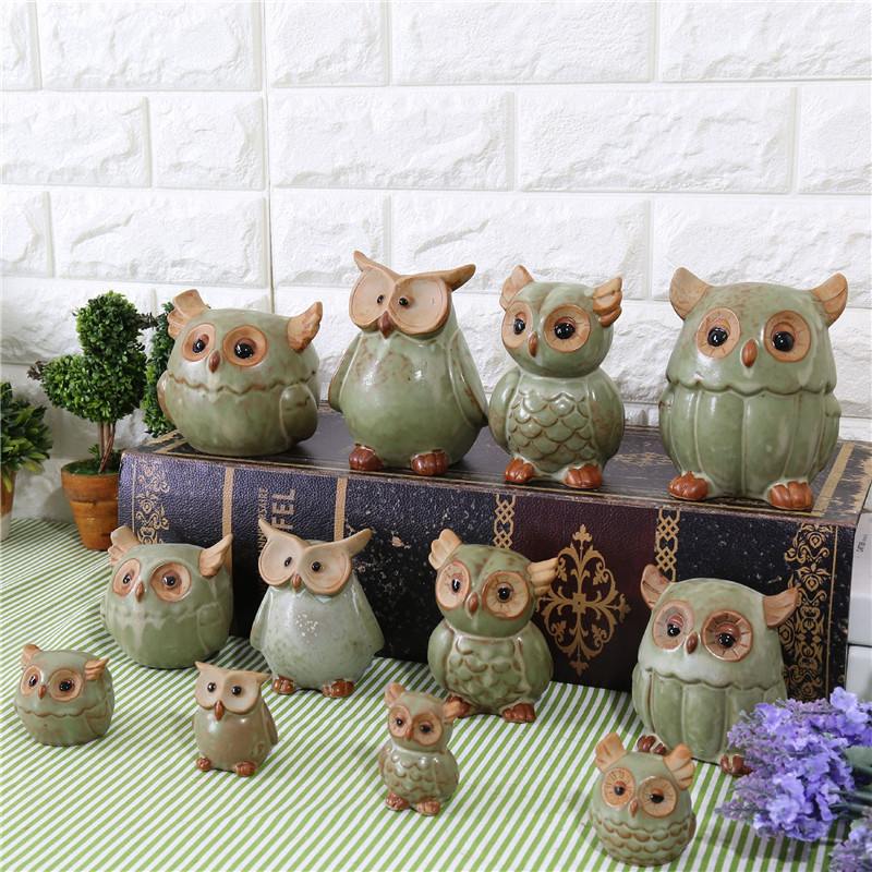 Ceramic Owl Model Miniature Crafts Hotel Home Decor Accessories Birthday Gift Pirate Figurines Decoration The Most Fun Toy