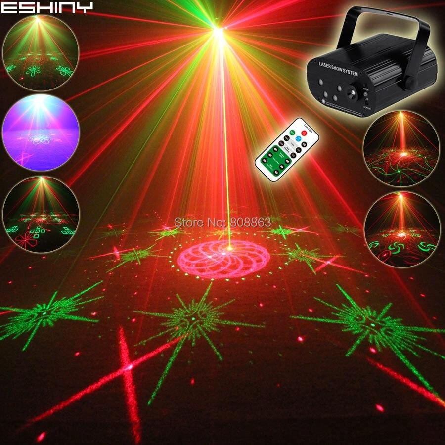 ESHINY Mini Double R&G 5 Len Laser 128 Patterns Projector Blue Led Home Party Bar DJ Disco Xmas Dance Stage Effect Light N60T154