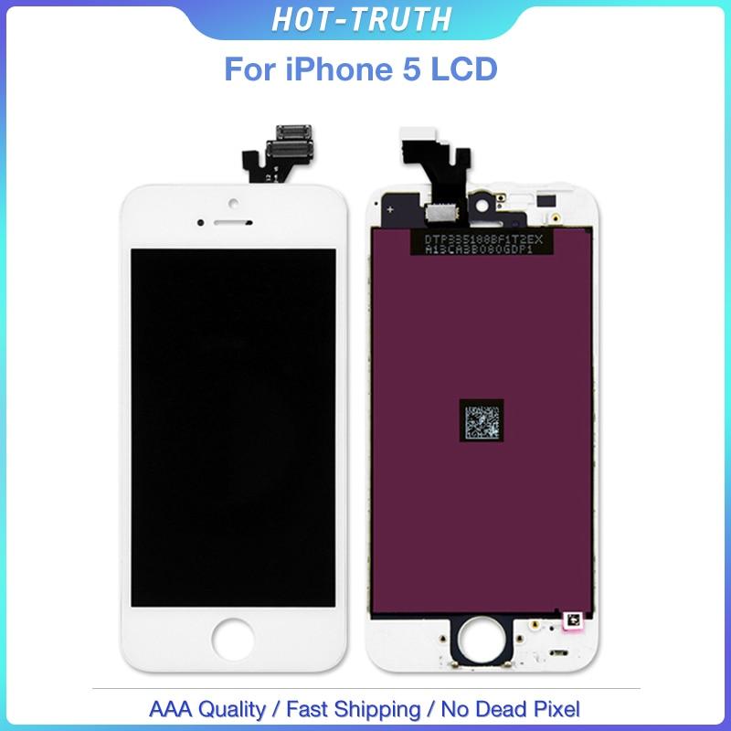 5 pçs/lote Melhor Venda Tela de Toque Digitador Assembléia Display LCD para A Apple caso iPhone 5 com Frete Grátis No Dead Pixel LCD AAA